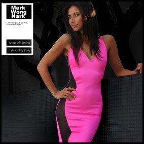 Mark Wong Nark Hot Pink Eclipse Mesh Dress