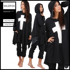 Wildfox_Black_Simple_Cross_Over_sized_Hoodie